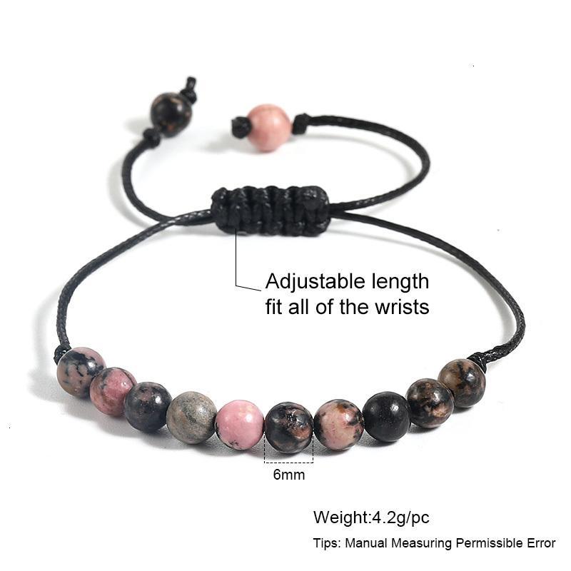 Цена на фабрике 6 мм для натурального камня Женщины для женщин Мужчины Регулируемая ручной работы Восковая веревка оплетенный браслет Браслеты Bangles