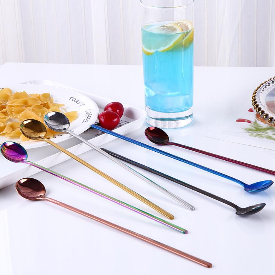 Cucharas de mango largo Coffee Scoop Ice Cream Spmoons Suministros de cocina Mango largo Acero inoxidable 7 colores Café Postre Cucharas ZY59