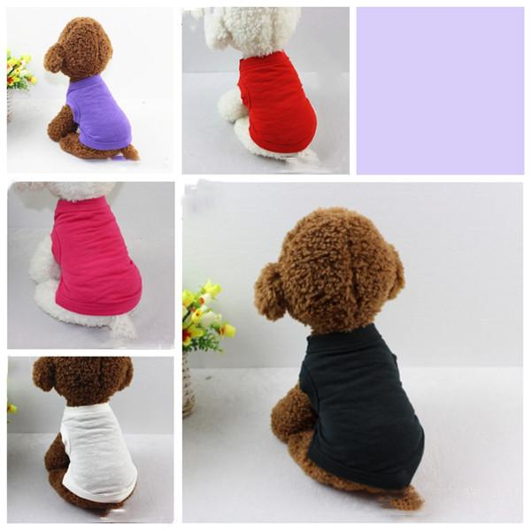 PET T SHIRTS verano ropa de perro sólido moda camisas camisas chaleco ropa de algodón perro perrito pequeño ropa de perro barato ropa mascota barato yhm212-1