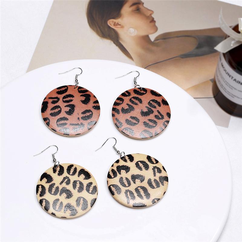 Vivilady ethnischen Stil Afrika Neue Druck Leopard Natürliche hölzerne Frauen Reifen Ohrringe Trendy Großhandel Charmee Party Jeeley Brinco