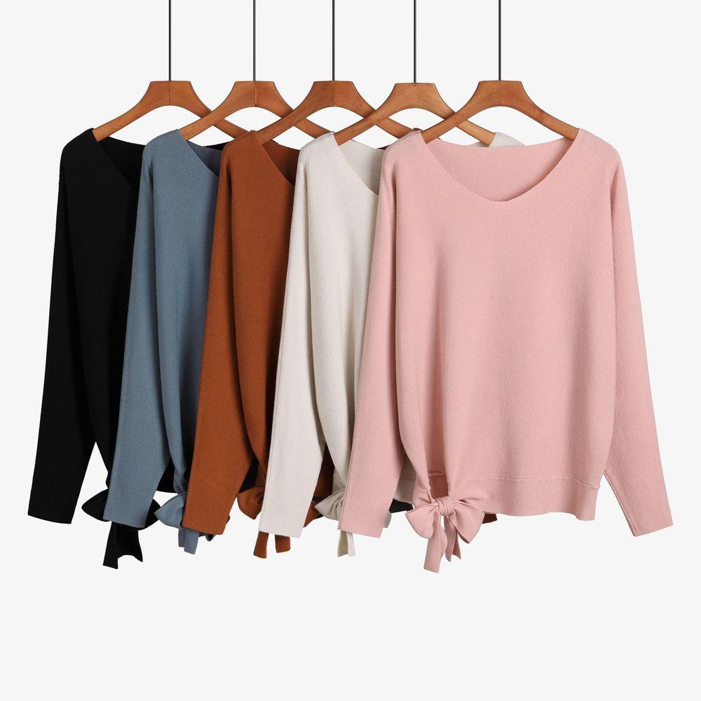 GCDs Jacquard Mulheres Roupas Cashmere Camisola Lace-up, Loose-Fitting, Oversize, Pullover Jersey Bat Top