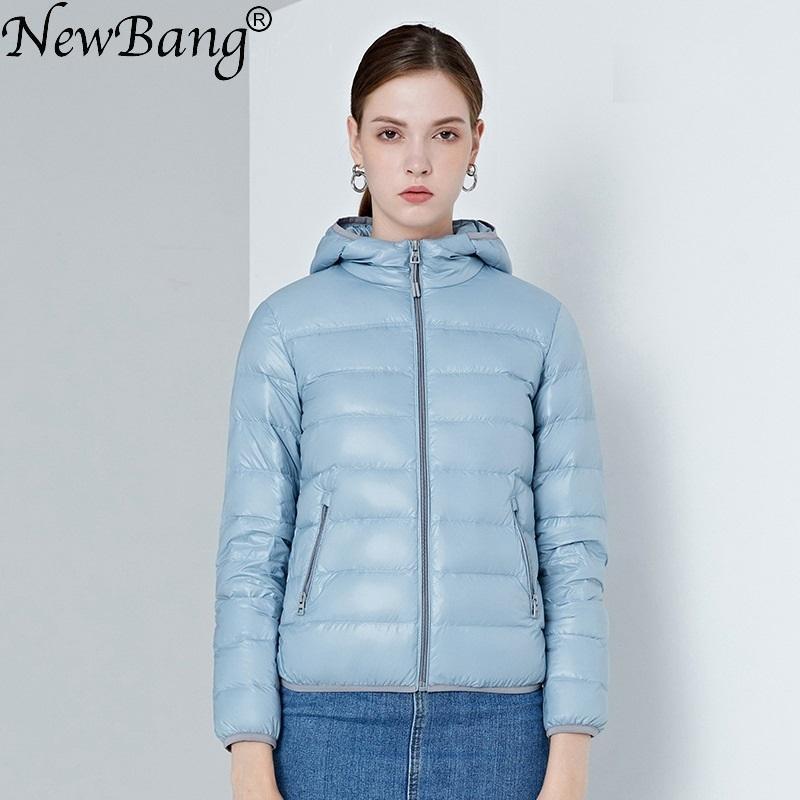 Newbang 4XL kadın Aşağı Ceketler Ultra Işık Ördek Aşağı Kadınlar Hafif Ceket Kapşonlu Kadın Rüzgarlık Parka Artı Mont Q1209