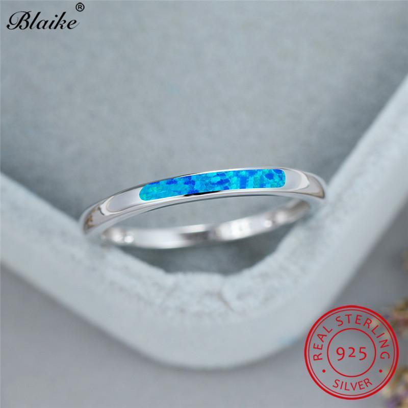 Impilabile Blue Fire Opal Ring 925 Sterling Silver Sottile Anello Anello Minimalista Anelli di fidanzamento per le donne Monili da uomo