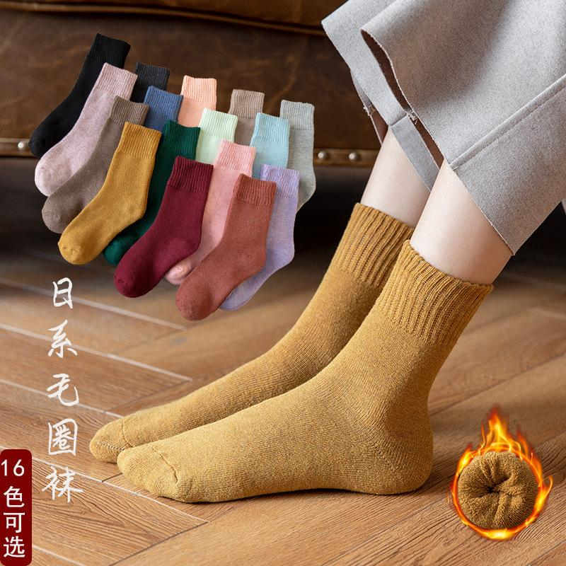 women's autumn and winter Plush warm terry solid color wool like towel floor cotton Socks