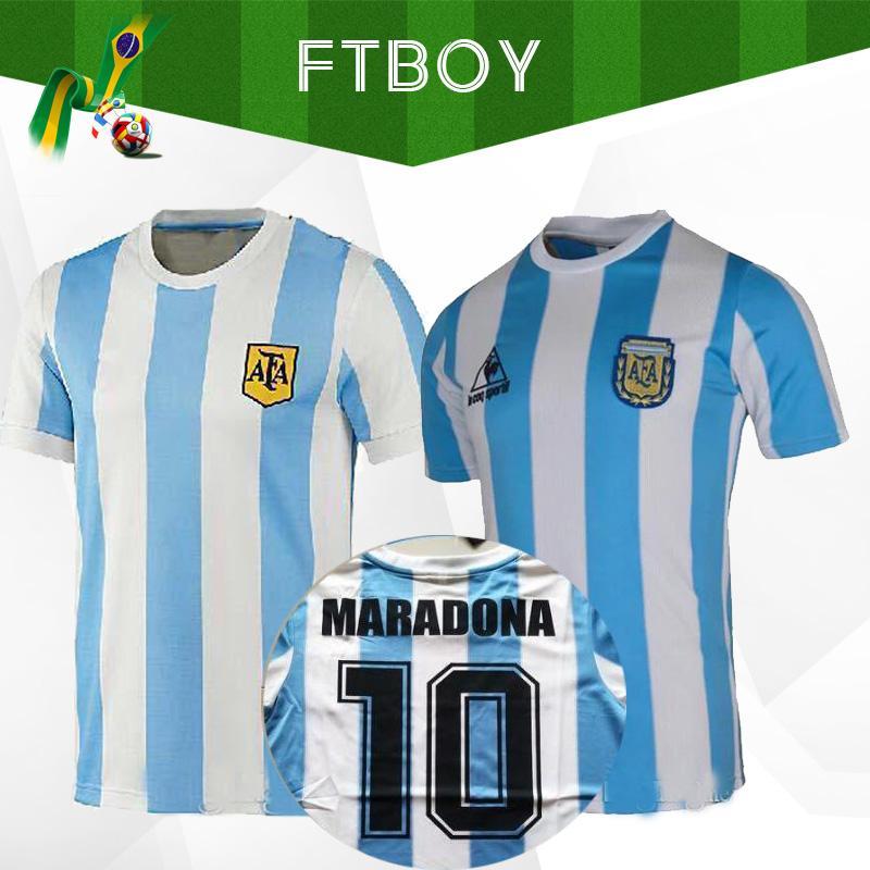 1986 الأرجنتين الرجعية الكلاسيكية خمر دييغو مارادونا جيرسي لكرة القدم جيرسي كاميسا دي فيوتول جيرسي الكبار لكرة القدم قميص تايلاند الجودة