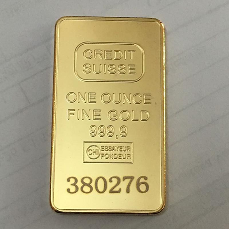 10 PZ Non magnetico Credit Suisse Ingot 1oz Placcato oro Bullion Bar Swiss Souvenir Regalo di moneta 50 x 28 mm con diverso numero laser seriale