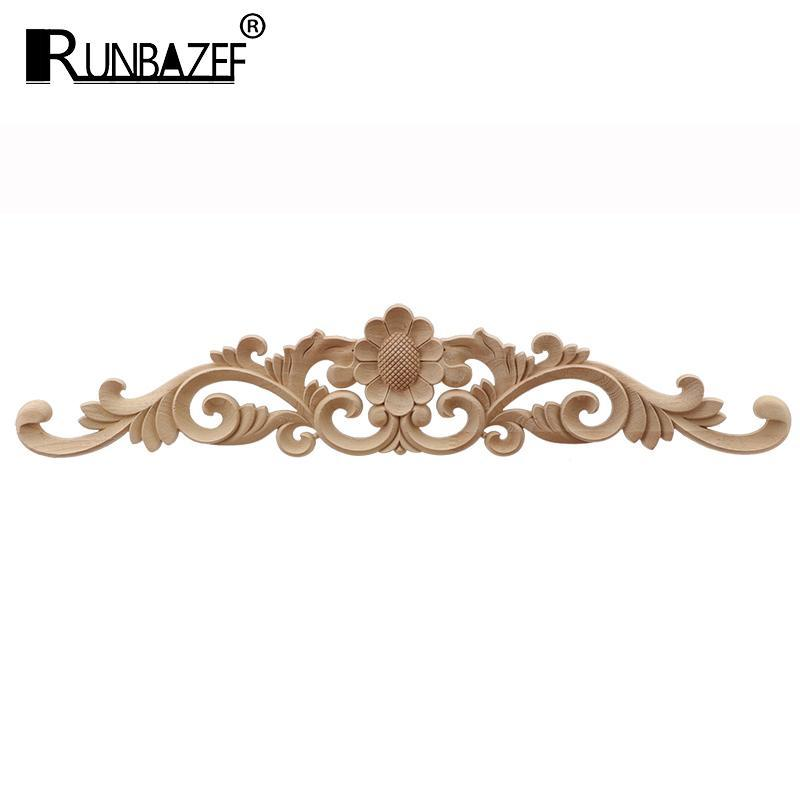 RUNBAZEF Unpainted Wood Carved Decal Corner Applique Frame for Home Furniture Wall Cabinet Door Decorative Crafts