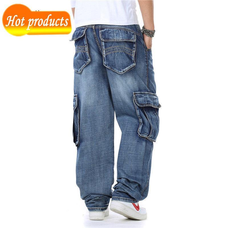 Japonais LFSZY NOUVEAU Style Faire de la ligne droite Modal Modal Hommes Denim Rider's Brem Pants Le jean Blue Baggy Hommes Bzrp