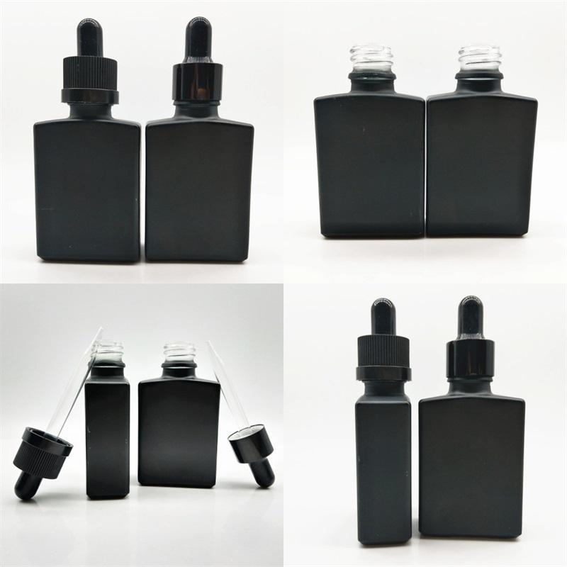 Profumo di vetro quadrato Bottiglie da 30 ml Glassatura Solido Black Black Olio Essenziale Bottiglia di imballaggio Bottiglia Quadrato Casa rettangolare Alta qualità 1 1YB M2