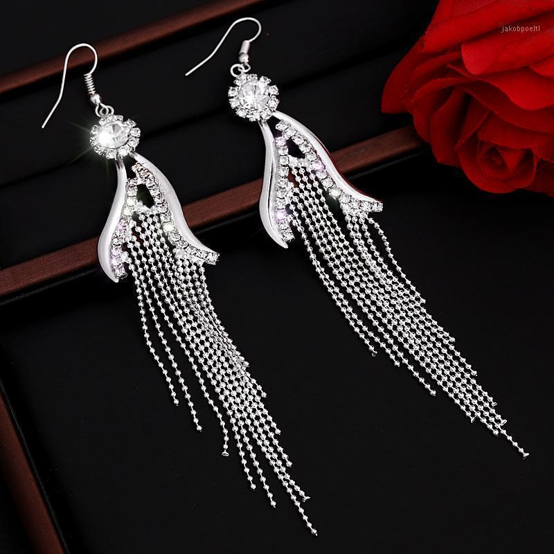 Lange Quaste Drop Ohrringe für Frauen Kristall Strass Große hängende baumeln Ohrringe Braut Hochzeit Schmucksry1