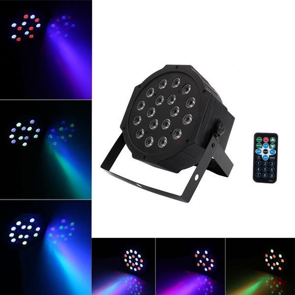 Hot 24W 18-RGB LED Auto / Control de voz DMX512 Mini Lámpara de escenario (AC 100-240V) Negro * 2 Luces de cabeza móviles