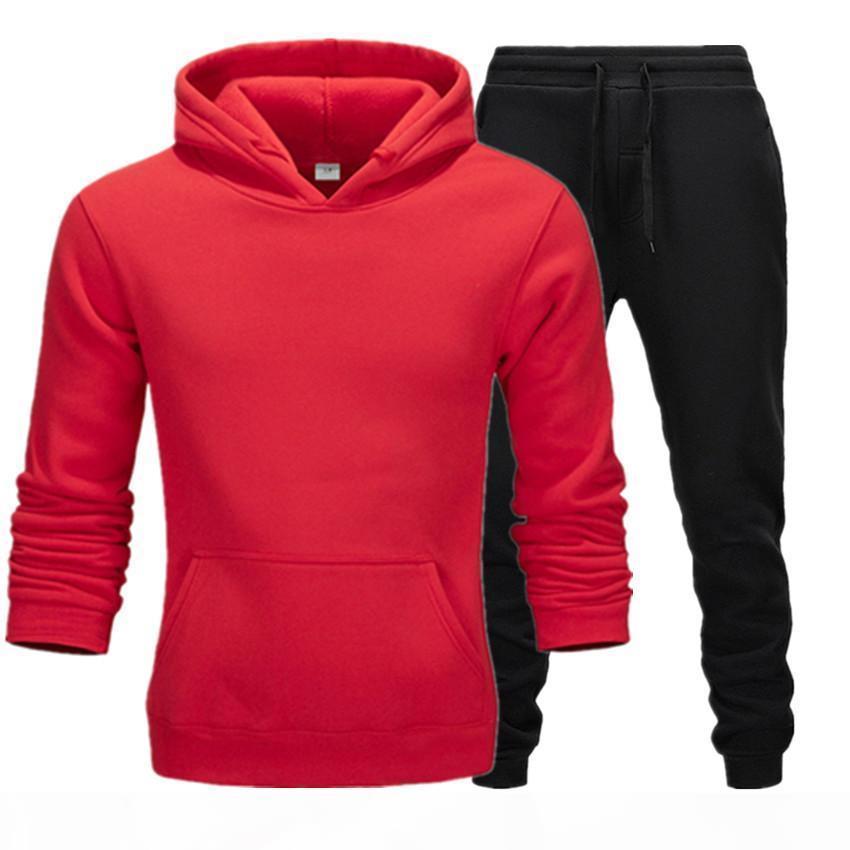 2020 Abbigliamento casual Abbigliamento maschile Maglione Maglione Cotton Men Tracksuits Hoodie Due pezzi + Pantaloni Camicie sportive Caduta Inverno Track Suit Black