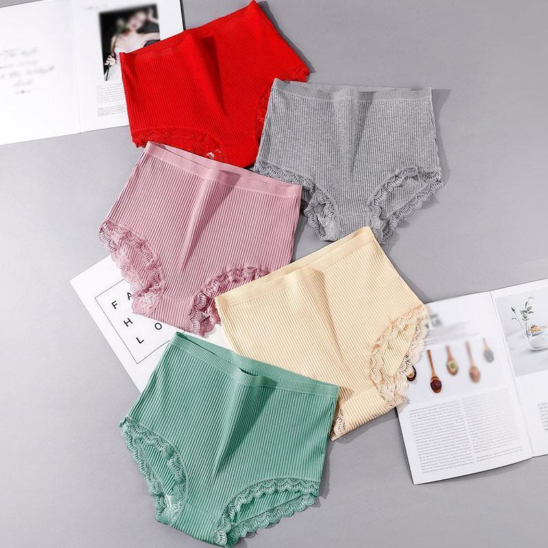 Cor sólida femaletriangle calcinha mulheres meninas puro algodão broto breves cuecas cueca cintura alta roupa interior respirável