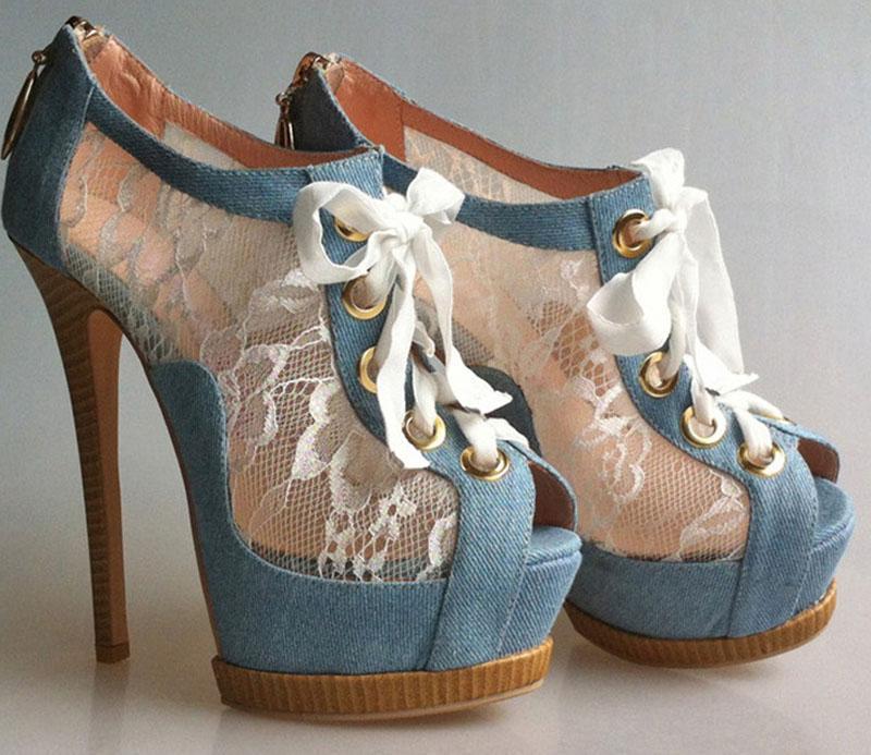 New Washable Denim Cloth Floral Lace Patchwork Peep toe Ankle Boots Summer Platform Stiletto Wood Heel Women Lace Up Botas