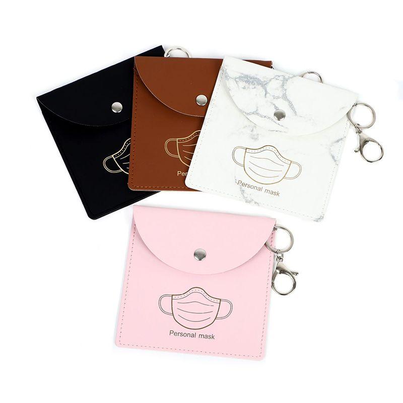 Sacos de armazenamento de máscara portátil Keychain Máscaras de poeira reutilizável Bag Keyring Pingente Moda PU Carro Chaveiro Acessórios