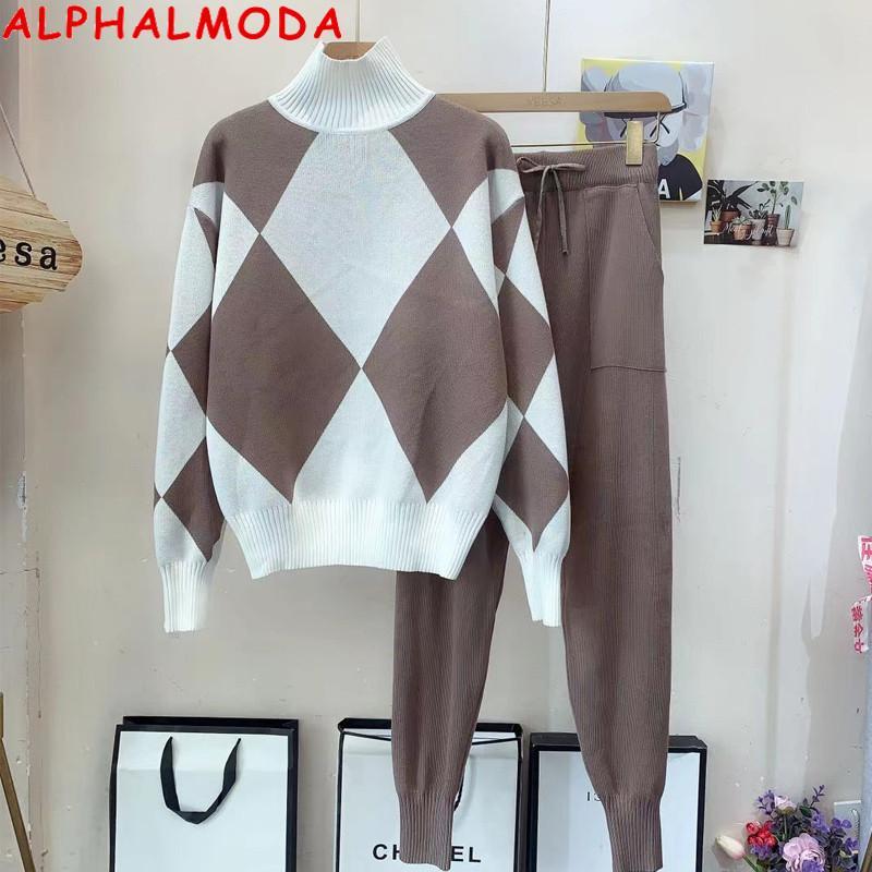 Alphalmoda 2020 Big Donne Pattern Donne Alte Collare Inverno Moda Pantaloni Jumper Pantaloni 2PCS Suit Slip Comodo Comfy Maglione Top Pantaloni Top Set C0129