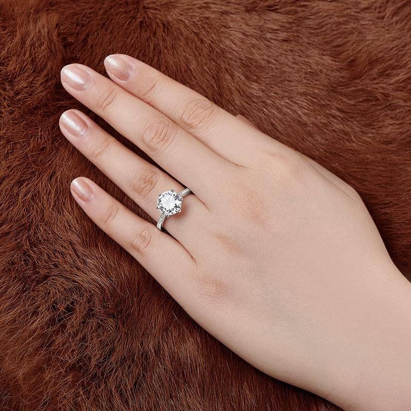 Qyi роскошь 4 CT пасьянс кольца круглая среза 6 Prong Sona Diamond 925 стерлингового серебра стерлингового серебра обручальное кольцо для женщин Q1218
