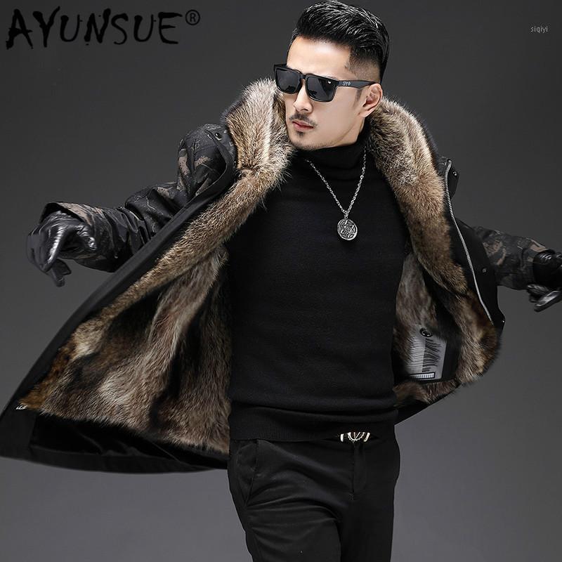 Ayunsue 2019 зимняя куртка мужчины реальные меховые пальто Parka еноты меховые куртки с капюшоном теплые пальто Parkas de Hombre 19-20011