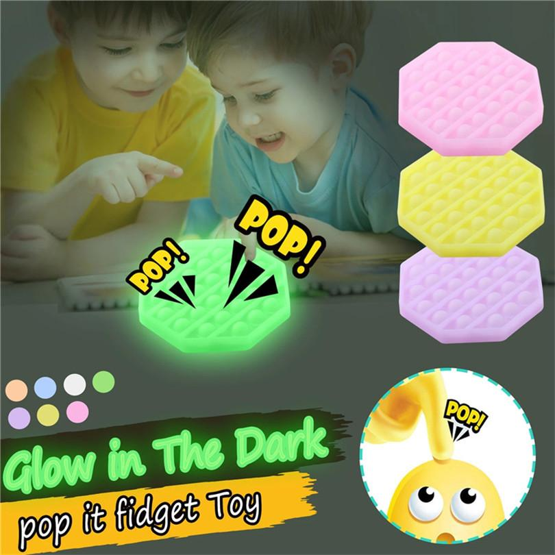 Glow In The Dark Push push Pop Fidget Toy Sensory Bubble popper Squeeze Toys Anxiety Autism Special Needs Stress Reliever Table Game Luminous G10604