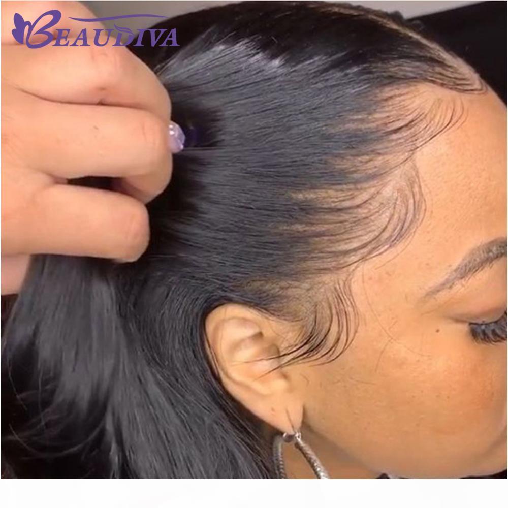 Beaudiva Full Dentelle Human Cheveux Perruques Straight Vierge Vierge Brésilienne Prépurée avec Perruques de cheveux bébé 150% Densité
