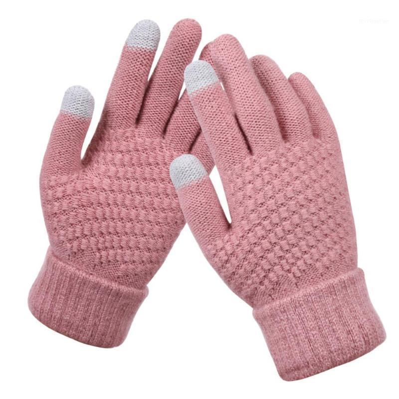 2020 Бесплатная доставка шерстяные теплые трикотажные перчатки женщин зимний сплошной цвет сенсорный экран полный палец1
