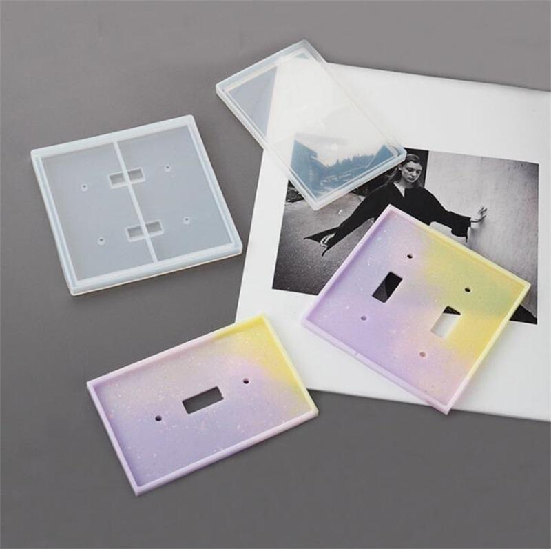 Epoxi Resina Silicone Moldes DIY Double Hole Mold Ornaments 2 PCS Set Espelho Transparente Molde Quadrado Retângulo Soft Indoor 8NF O2