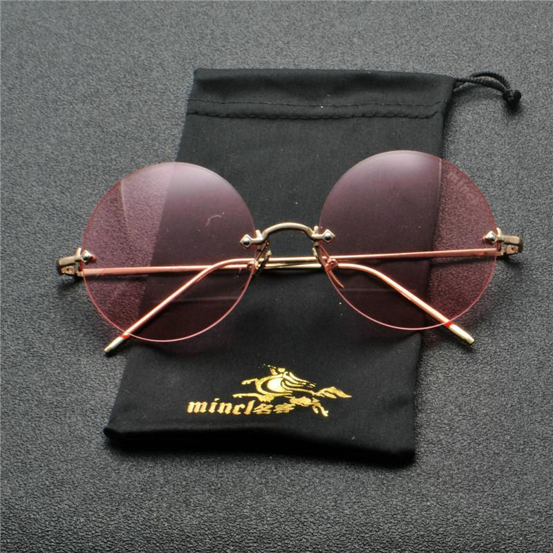 2020 Gafas de sol redondas de lujo Mujeres de la marca Diseñador de gafas de sol sin llanta para la moda femenina Moda Gafas Brown FML