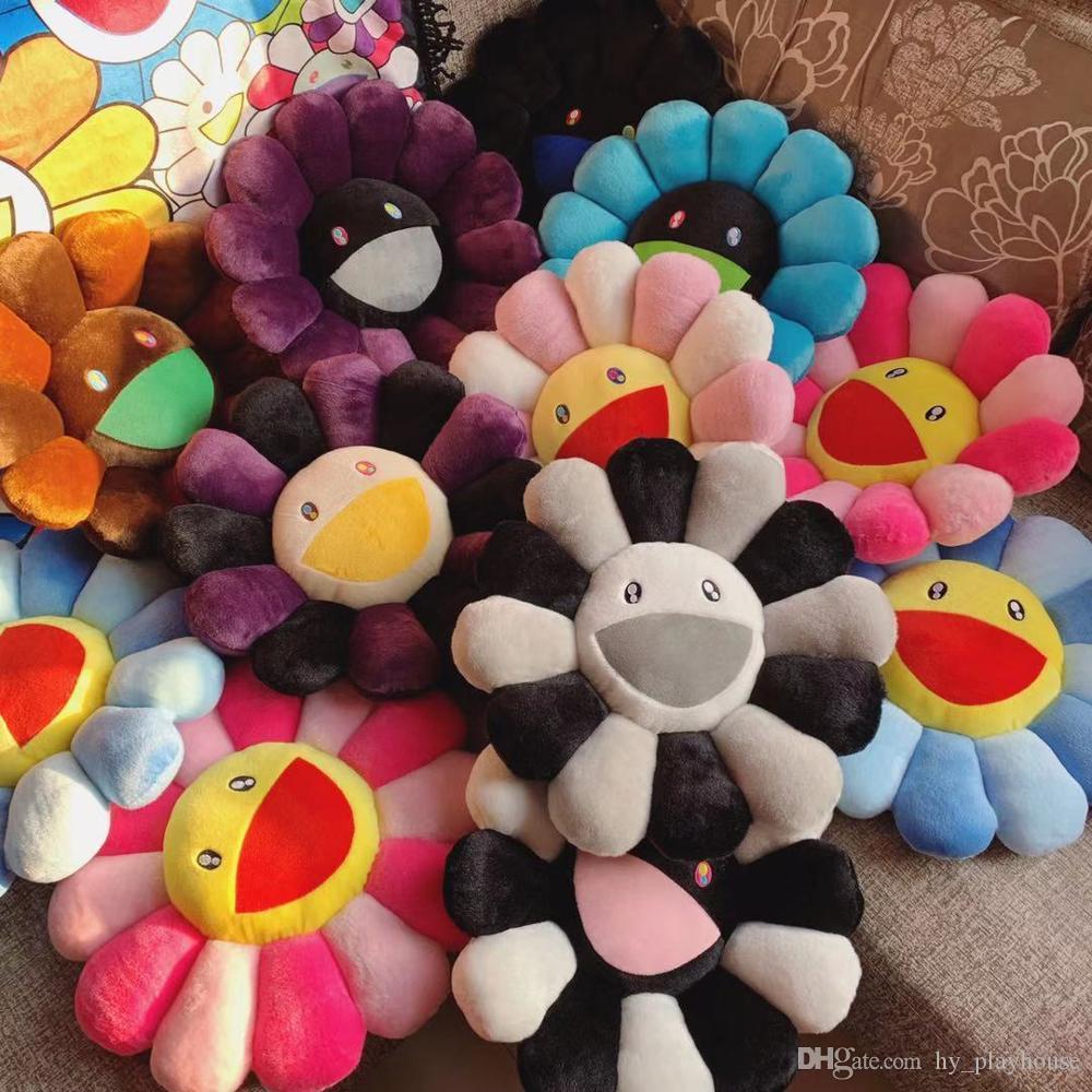 Новый 40см Kawaii Murakami подсолнечника подушка мягкая цветочная фаршированная кукла Kaikai Kiki красочная плюшевая игрушка подушка подарок