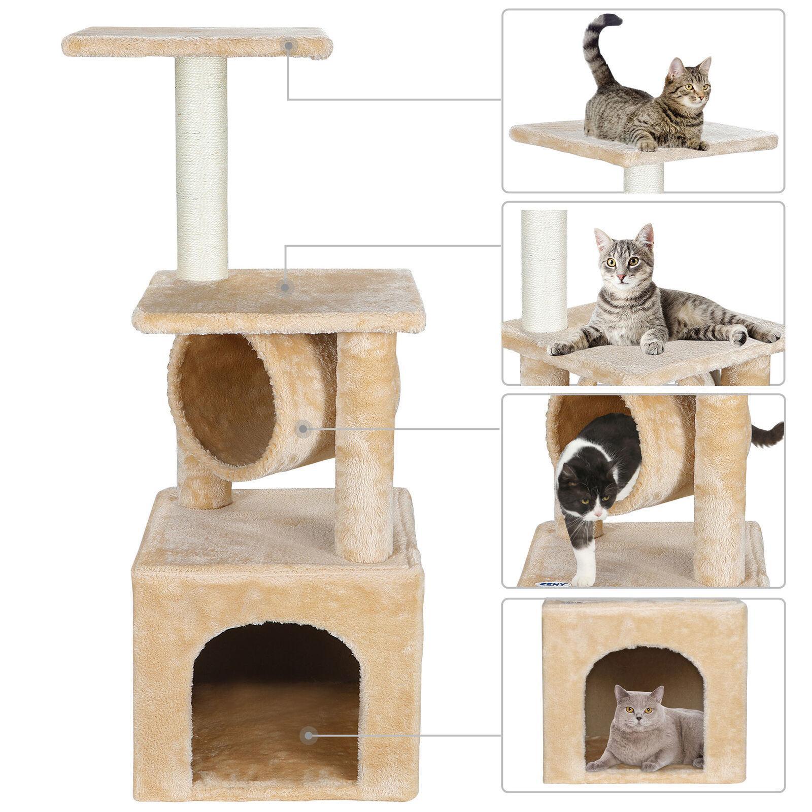 36 дюймов Cat Tree Tower Activity Центр играют в кондо-кошках Дерево кровати мебель царапая башня котенок домашний дом бежевый