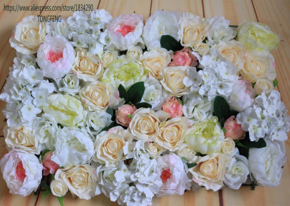 Tongfeng Artificial hortênsia de seda rosa e peônia parede do fundo da flor de casamento decoração flor 10pcs corredor / lot