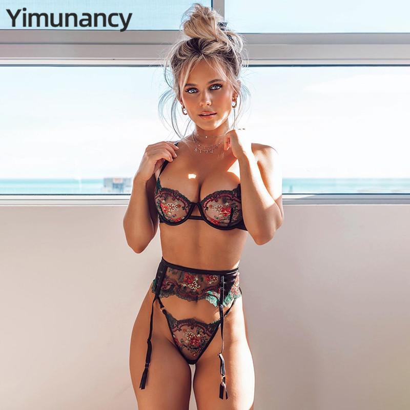 YIMUNANCY SOUF-BRA 3 pièces SET FEMMES FLORAL EBRODIERIE Dentelle Lingerie Dames Braz Transparent Bra + Thong Sexy Underwearx1122
