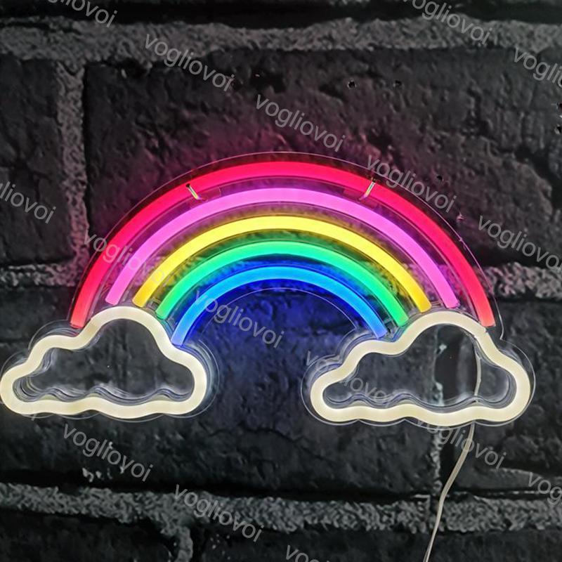 LED Neon Burcu SMD2835 Gece Işık Tasarım Gökkuşağı Çift Bulut Modeli ile Şeffaf Arka Plan Tatil Noel Parti Düğün Masa Lambaları DHL
