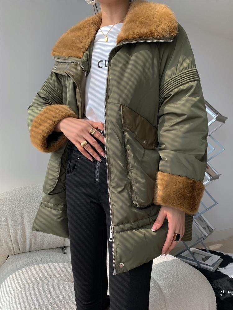 Женская кожаная куртка для женщин женщин 2020 зима новая средняя длина европейская шуба