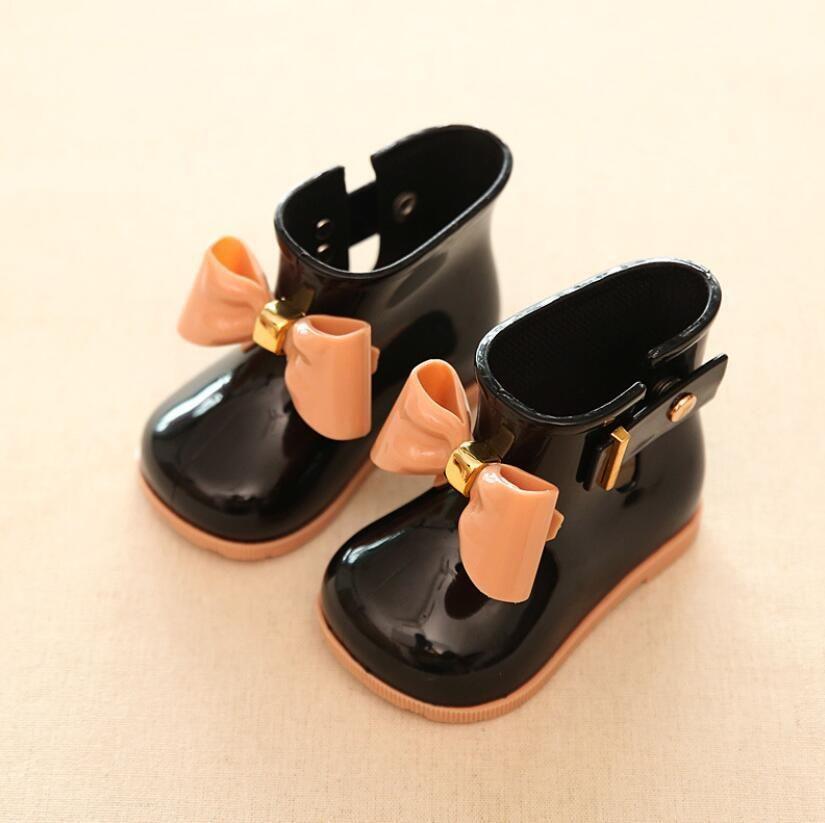 Chuvas Chuvas Crianças Sapatilhas Moda Borboleta-Nó Bebê Meninas Autumn Martin Boots para Meninos Borracha Tênis Tênis