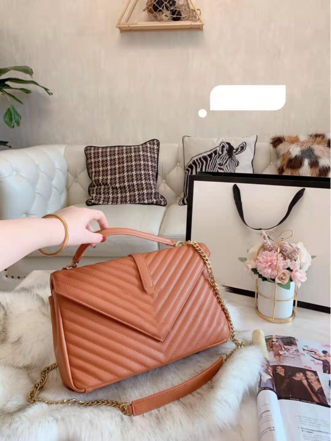Lady Classic Taschen Kette Leder Mode Tragbare Neigung Schulter Ling Die Messenger Handtasche Einzelne Tasche Echte Handtasche Gesteppte VGUFH
