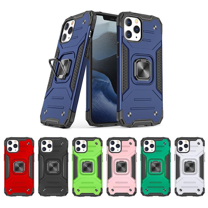 Rüstungsstoßfänger Stoßfest Telefonkasten für iPhone 12 11 Pro xs max mini xr x 6 6 s 7 8 plus militärische Fingerring Kickstand zurück