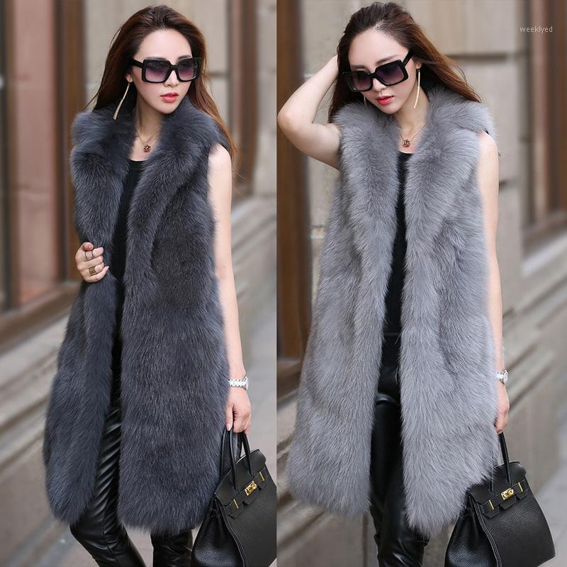 S-6XL Nouveau Fourrure Fourrure Femelle High Imitation Vest Vest Longue Collier Collier Manteau Femmes Vêtements d'hiver1