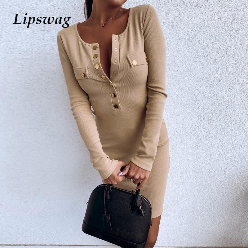 Günlük Elbiseler Lipswag Zarif Katı O-Boyun Parti Elbise Kadınlar Uzun Kollu Kaburga Bodycon Sonbahar Kış İnce Perçin Dresses Oymak1