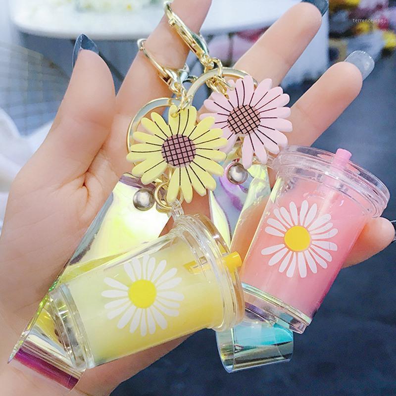 Mini Creative Soft Box Keychain Daisy Milk Coupe Keychain Boire Bubble KeyRing Moving Liquide Keyfob Bijoux Cadeau1