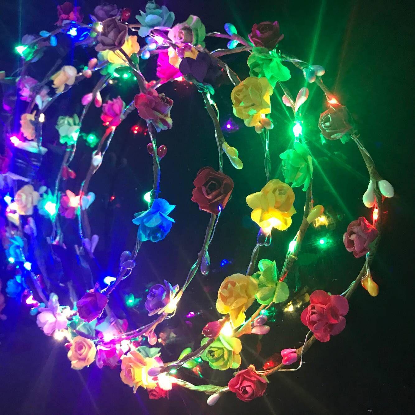 깜박이는 LED 스트링 광선 꽃 크라운 머리띠 가벼운 파티 레이브 꽃 머리 갈 랜드 빛나는 화환 결혼식 꽃 소녀 키즈 장난감