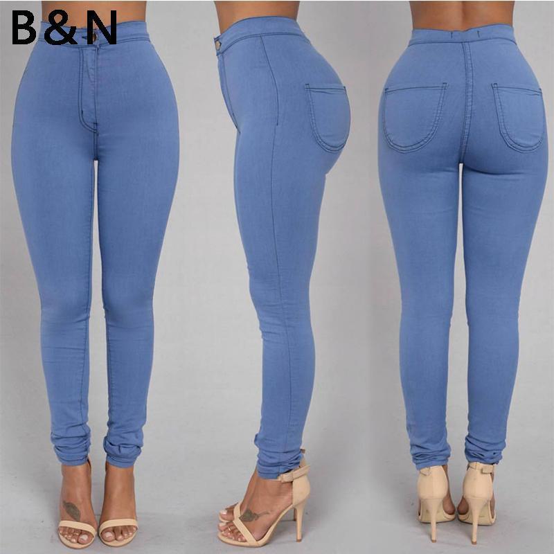 2020 Venta caliente Venta Sólida Wash Skinny Jeans Mujer Alta Cintura Nueva Denim Pantalones de mezclilla Plus Tamaño Pantalón Pantalones Pantalones Cálidos Lápiz Pantalones Mujer