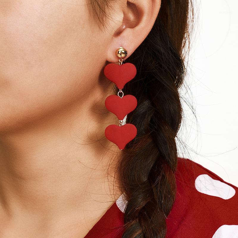 Корейский стиль Сердце Кулон Длинные Серьги Мода Ювелирные Изделия 2020 Серьги для женщин Девушки Подарочные Пендиента Оорбеллен1