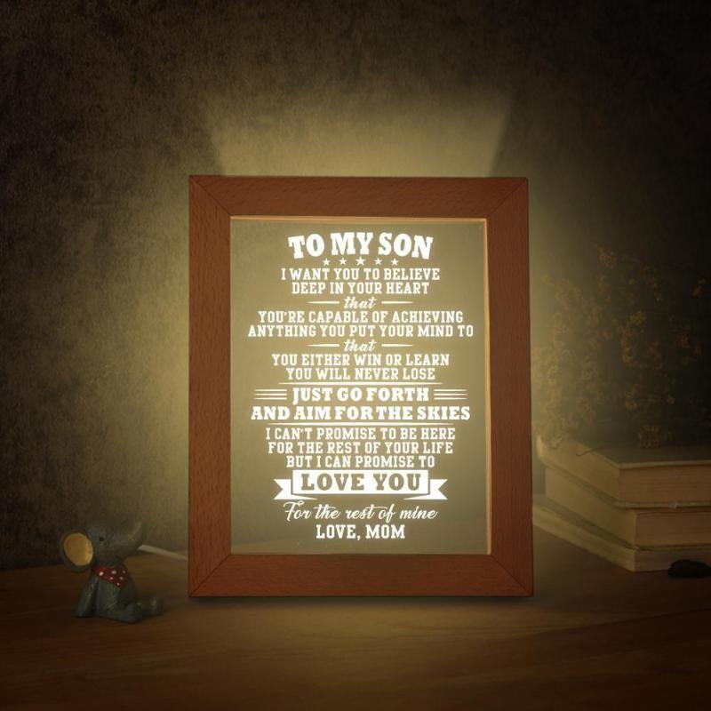 Mamá de mi hijo Marco de fotos 3D con luz LED Dimmer Interruptor Marco de texto Personalizado Picture Photo Graduation Birthday Presen