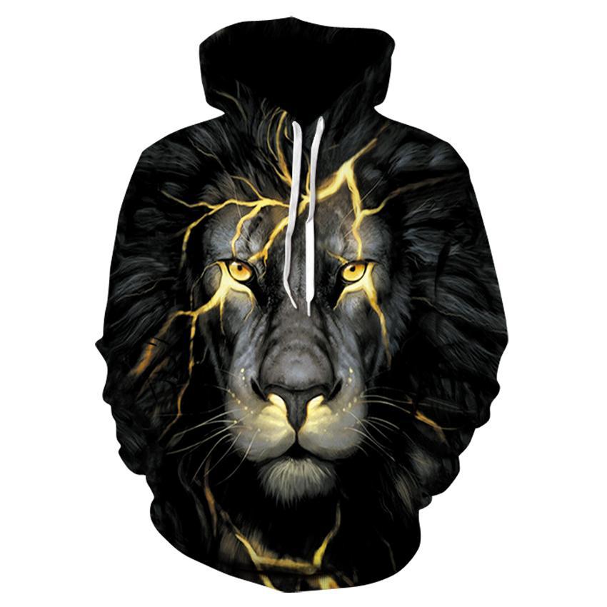 Moda encapuchada New Harajuku Animal impreso con capucha 3D Otoño Hombres / Extranjero 2020 Lion / Wolf Sudaderas Invierno Sudadera con capucha Njdwt