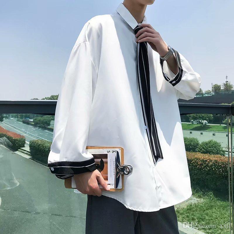 Kleid shirt männer mode soziale männer hemd grau schwarz weiße krawatte mann streamwear lose langärmelige Hemden Mens M-3XL