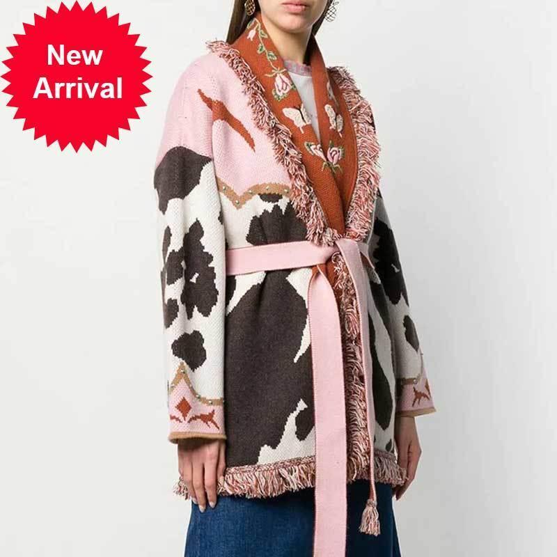 Boho a inspiré jacquard cardigan cardigan cardigan femme chaude manteau d'hiver frangé surdimensionné pull à manches longues