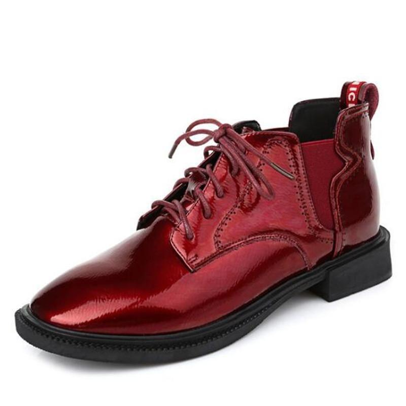 Stivali di alta qualità in pelle bovina bassa tacco antiscivolo Donne caviglia Plus Size Brillante pelle vernice scarpe donna moda casual