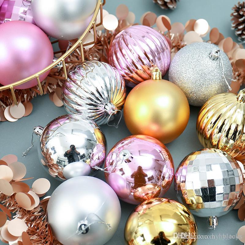 4 cm Árbol de Navidad Conjunto Adornos Navidad Colgantes Colgantes Colgando Bolas de plástico Decoraciones Bola 34pcs Bola Decoraciones de vacaciones Hsvot