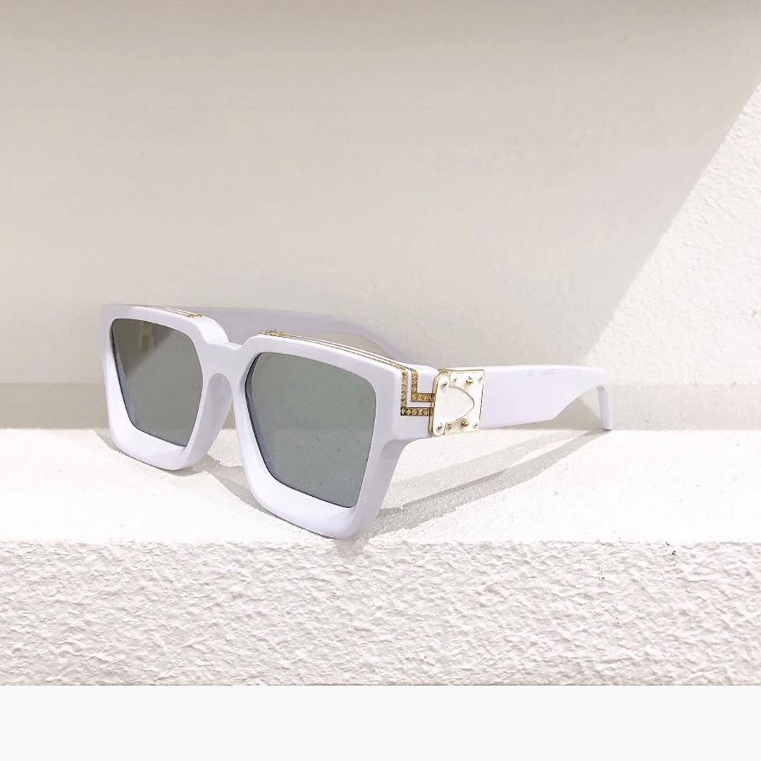 Квадратная рамка Солнцезащитные очки Мужчины Солнцезащитные Очки Женщины Панк Стиль Анти УФ400 Ретро Позолоченные Белые Большие Рамки Металлические Украшения