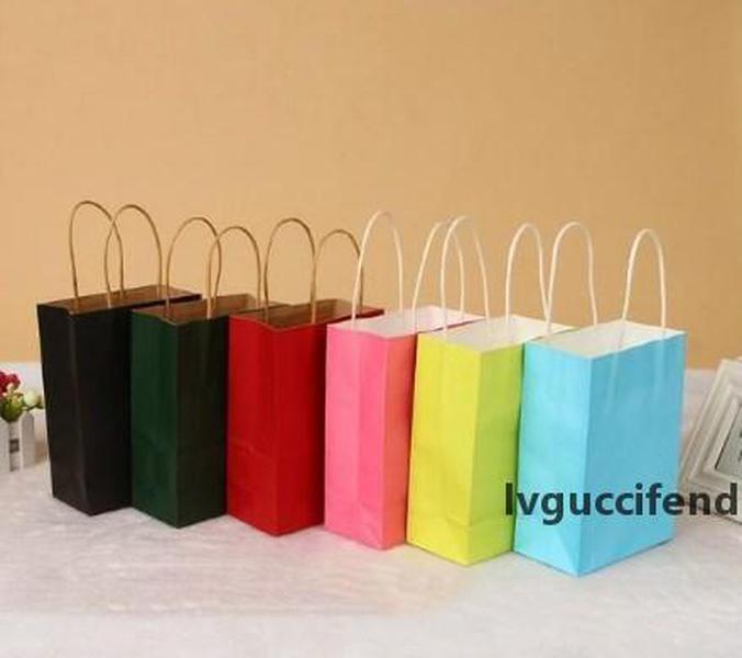 9 Renk Kraft Kağıt Torba Festivali Hediye Paketi Yeni Boş Hediye Kağıt Torba Moda Hediye Kağıt Çanta